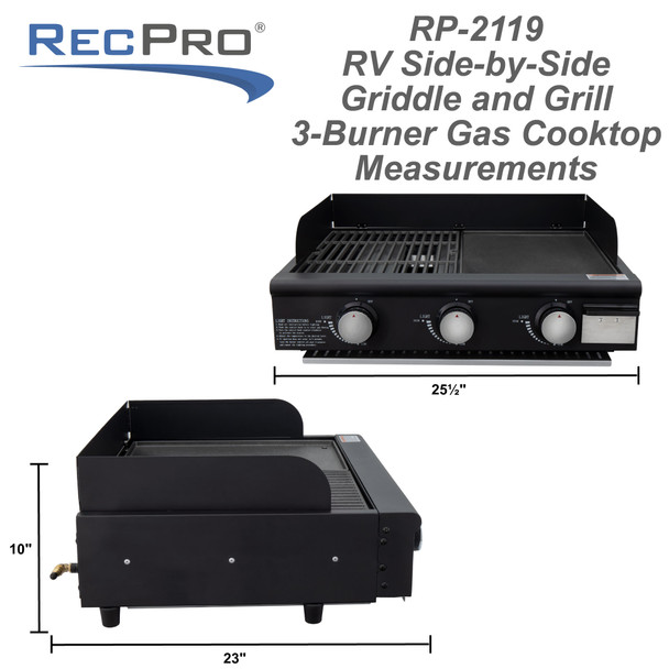 RV Side-by-Side Griddle and Grill 3-Burner Gas Cooktop