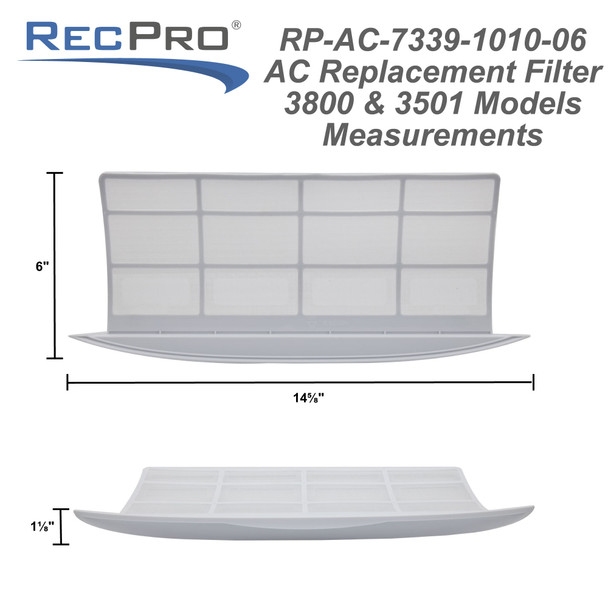 RecPro Air Conditioner Replacement Inside Cabin Filters (Fits 3501, 3800 Models)