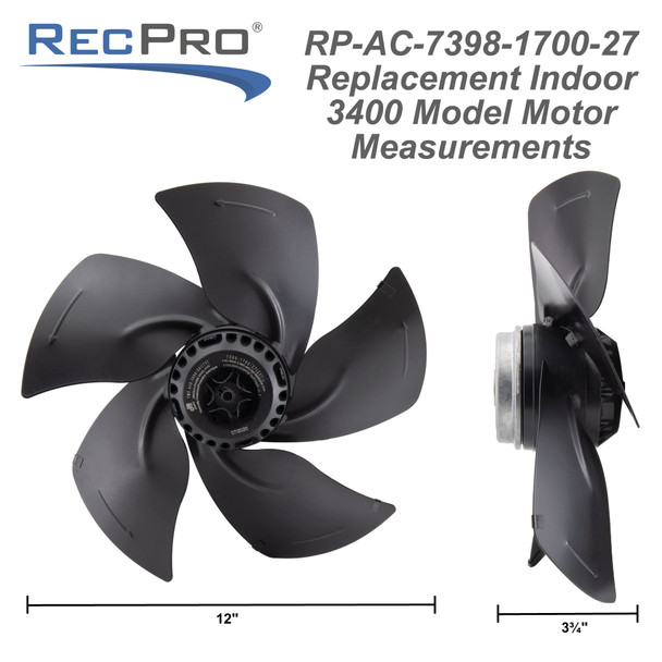 RecPro Air Conditioner Replacement Indoor Fan Assembly (Fits 3400 Series)