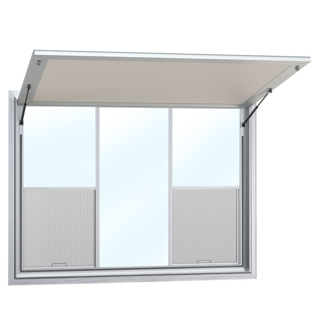 Custom Concession Stand Windows and Awnings with 2 Vertical Lift Windows and Solid Glass Center