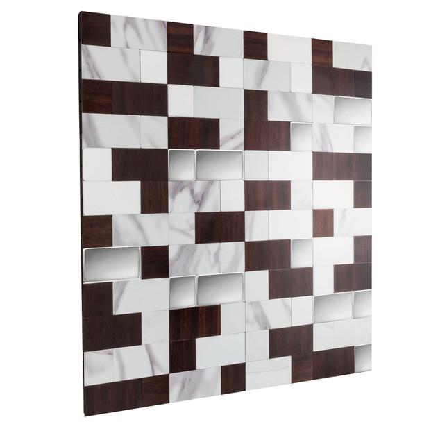 "RV Backsplash Marble Mahogany Tile 12"" x 12"" Peel and Stick"