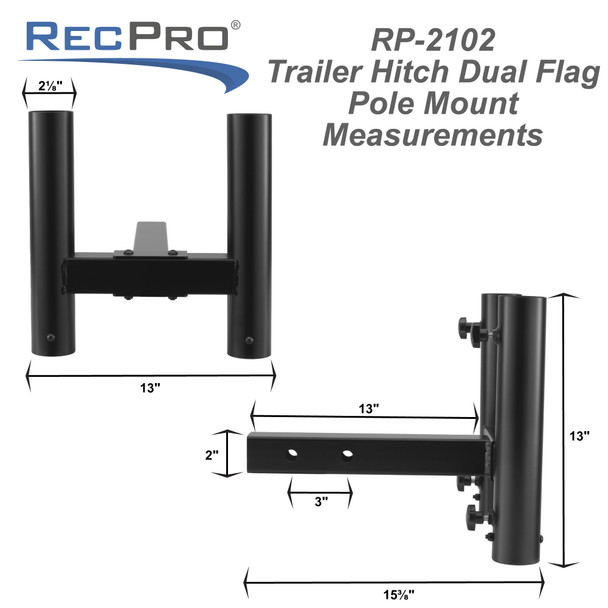 """Trailer Hitch Dual Flag Pole Mount for 2"""" Receiver"""