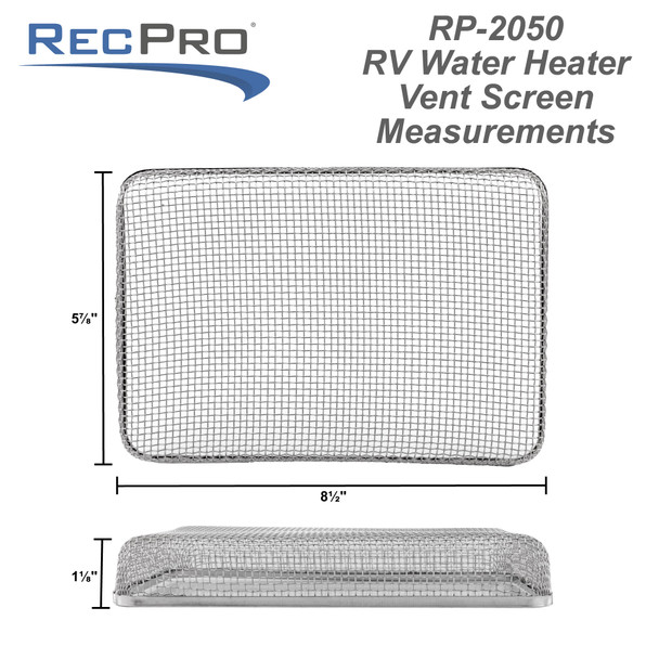 "RV Water Heater Vent Screen 6"" x 8 1/2"""