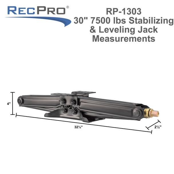 """30"""" RV Stabilizing Leveling Scissor Jack 7,500 lbs  Pair with Handle"""