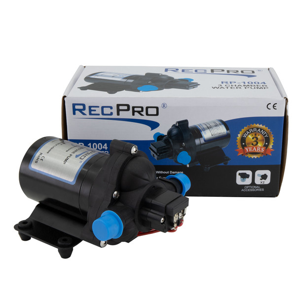 RecPro 12V Electric 3 Chamber RV Water Pump Shurflo Replacement
