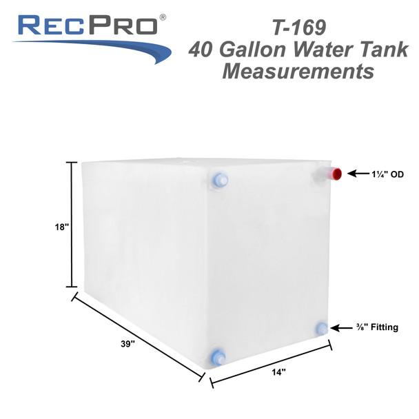 "40 Gallon RV Water Tank 39"" x 18"" x 14"" NSF Certified and BPA Free"
