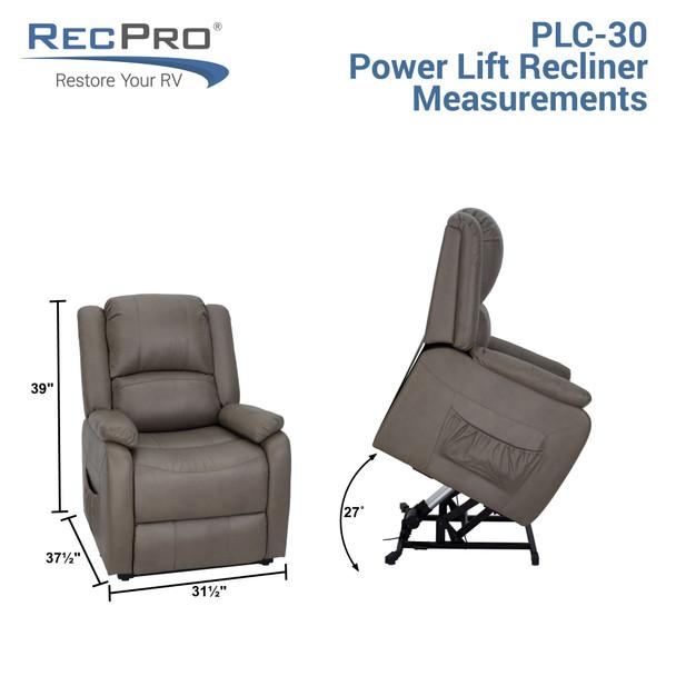 """RecPro 30"""" RV Reclining Power Lift Chair Handicap Assist Recliner"""