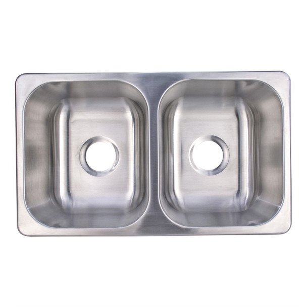 "Double Stainless Steel RV Sink 27"" x 16"" x 7"""