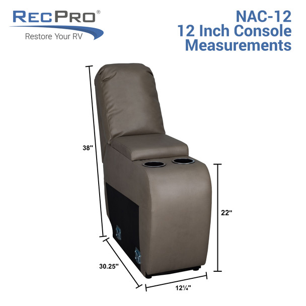 """RecPro Charles 12"""" RV Furniture Comfort Console with Cup Holders and Storage"""