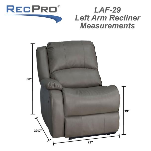 "RecPro Charles 29"" Left Arm Recliner Modular RV Furniture Reclining Luxury Lounger"