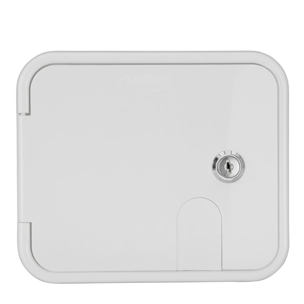 Gravity-fed city water hook-up inlet with locking hatch door