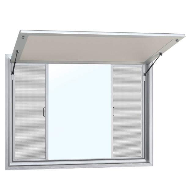 Concession Stand Windows and Awnings with 2 Horizontal Slide Window with Solid Center