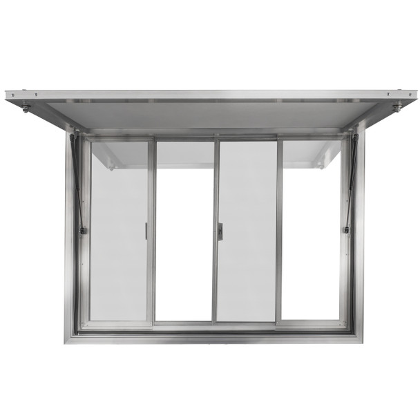 Custom Concession Stand Windows and Awnings for Food Trucks, Concession Trailers, and Concession Stands with 2 Center Horizontal Slide Windows and Solid Windows on Far Left and Far Right