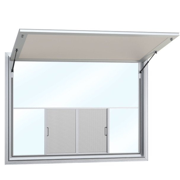Concession Stand Windows and Awnings with 2 Center Horizontal Slide Windows with Solid Glass on Top
