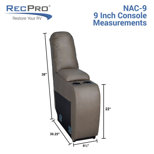 """RecPro Charles 9"""" RV Furniture Comfort Console with Cup Holders and Storage"""