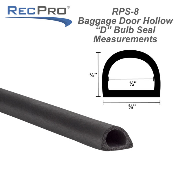 """RV Baggage Door Hollow """"D"""" Bulb Seal with Adhesive Backing"""