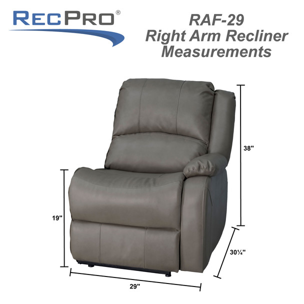 """RecPro Charles 29"""" Right Arm Recliner Modular RV Furniture Reclining Luxury Lounger"""