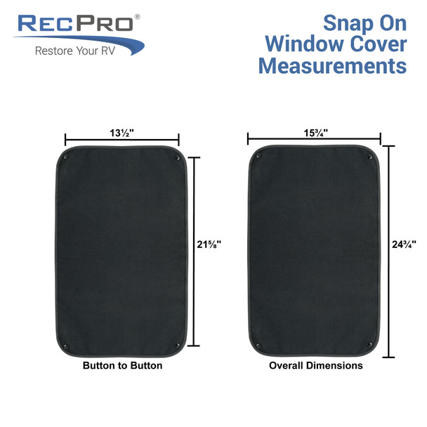 RV Window Shade for Entry Door with Snaps - Black