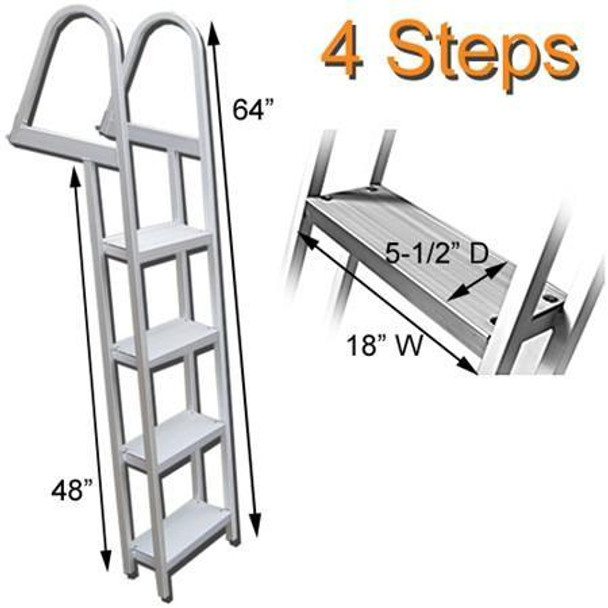 AL-A4 Aluminum Four Step Pontoon Boat Boarding Ladder
