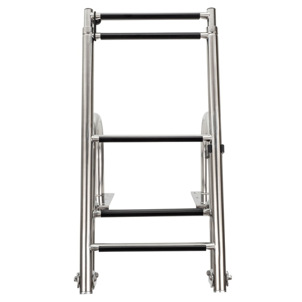 SSL-BCK-T3L Stainless Steel Rear Entry Telescoping Pontoon Boat Ladder