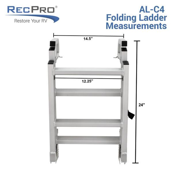 AL C4 Four Step Quick Release Folding Aluminum Pontoon Boat Ladder