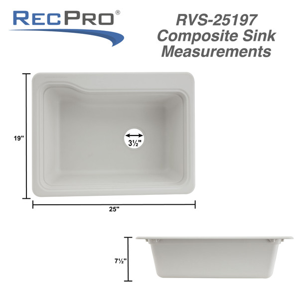 "25 x 19"" Composite RV Sink - Double Basin"