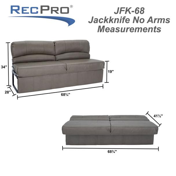 "RecPro Charles 68"" RV Jackknife Sleeper Sofa with Optional Legs"