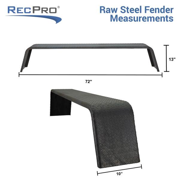 "Steel Diamond Plate Tandem Axle Trailer Fenders 72"" x 13"" x 10"""