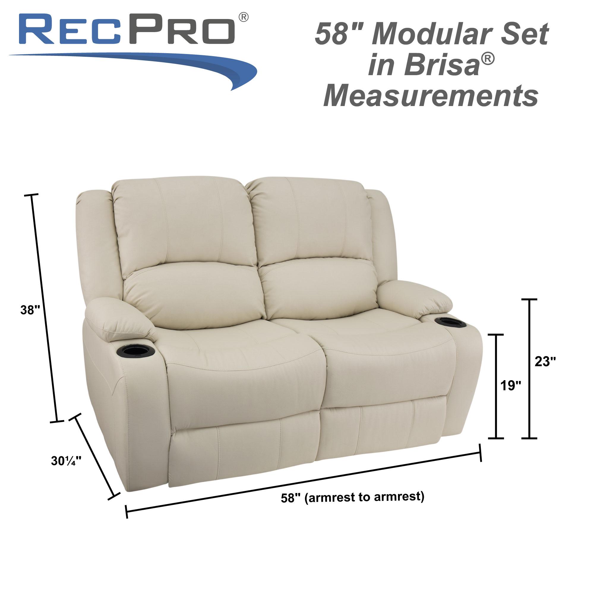 "RecPro Charles 58"" RV Loveseat in Ultrafabrics® Brisa® Measurements"