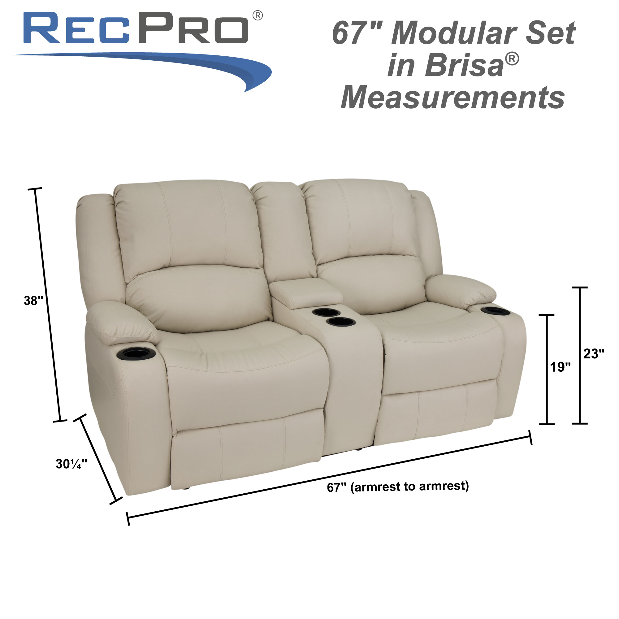 "RecPro Charles 67"" RV Loveseat in Ultrafabrics® Brisa® Measurements"