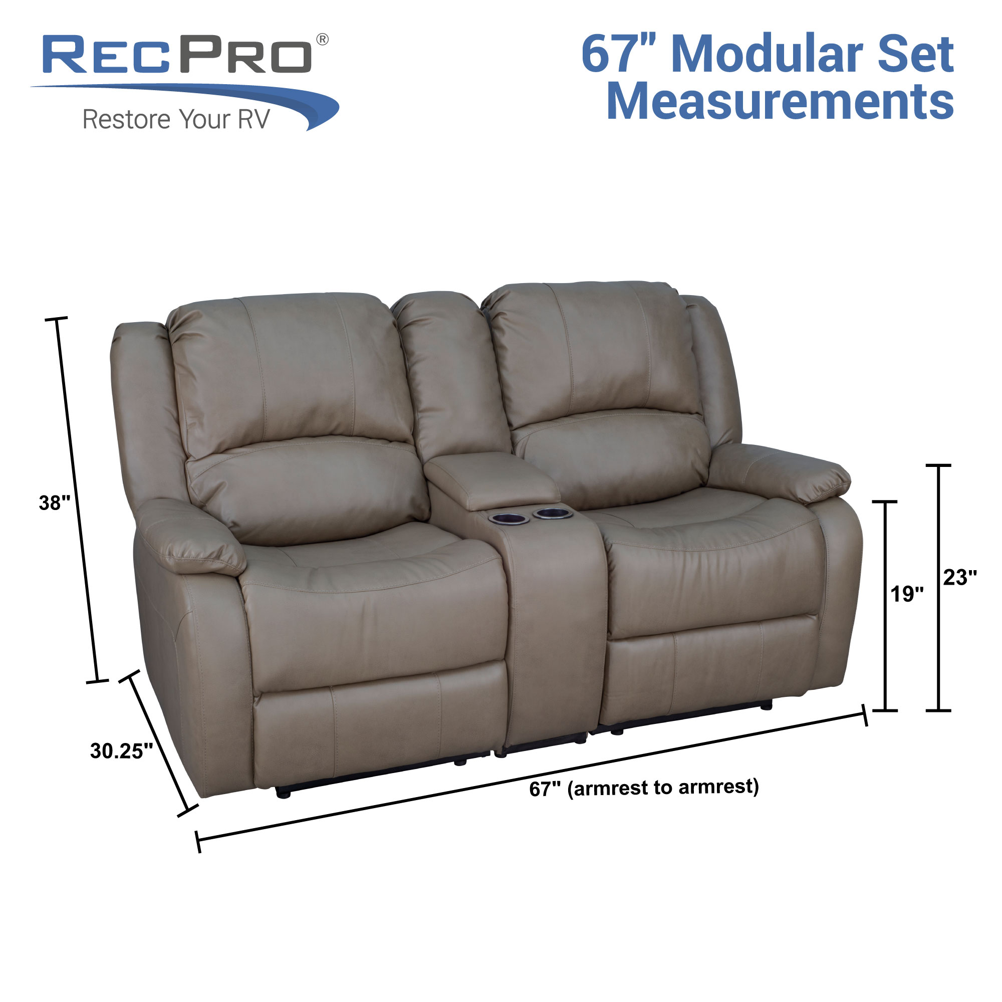 Recpro Charles 67 Double Rv Wall Hugger Recliner Sofa With Console