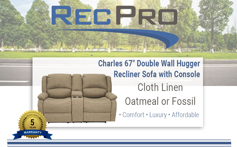 """67"""" Recliner Sofa in Cloth"""