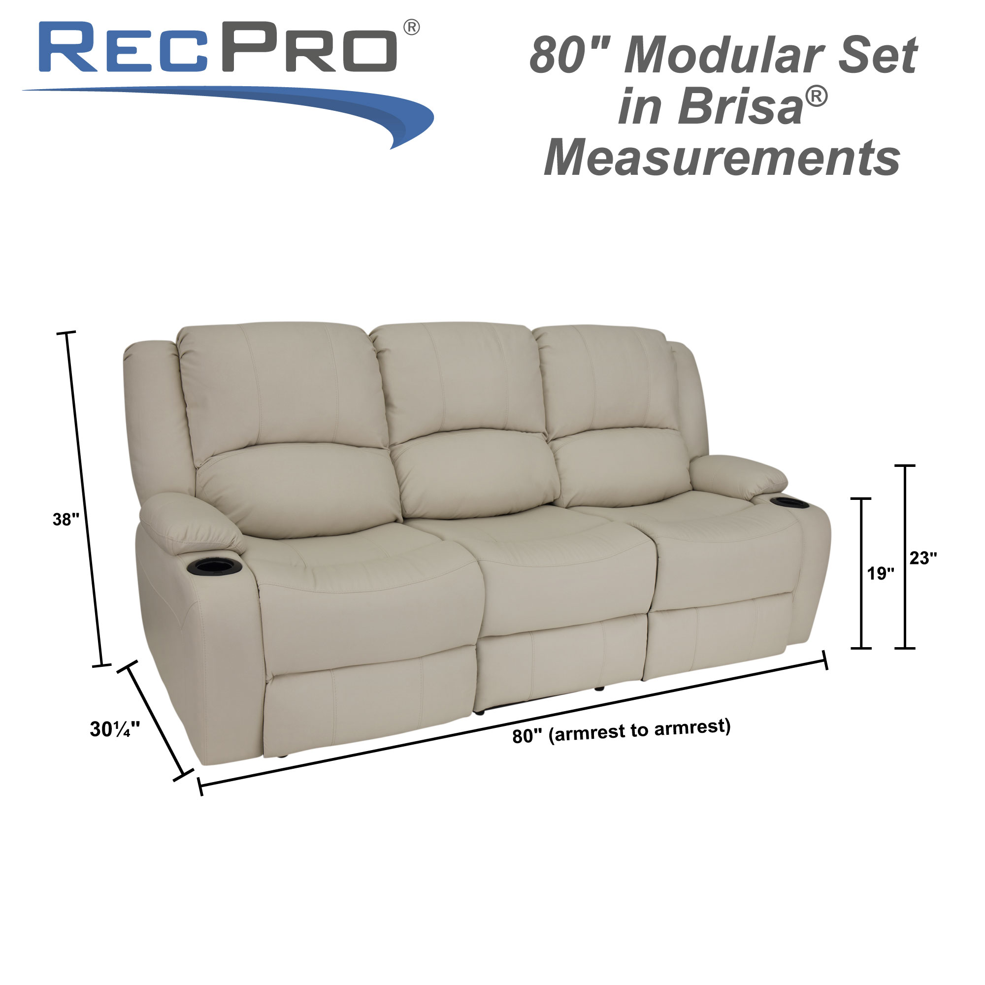 "RecPro Charles 80"" RV Wall Hugger Recliner Sofa in Ultrafabrics® Brisa® Measurements"