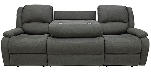 """94"""" Recliner Sofa Drop Down Console in Fossil"""