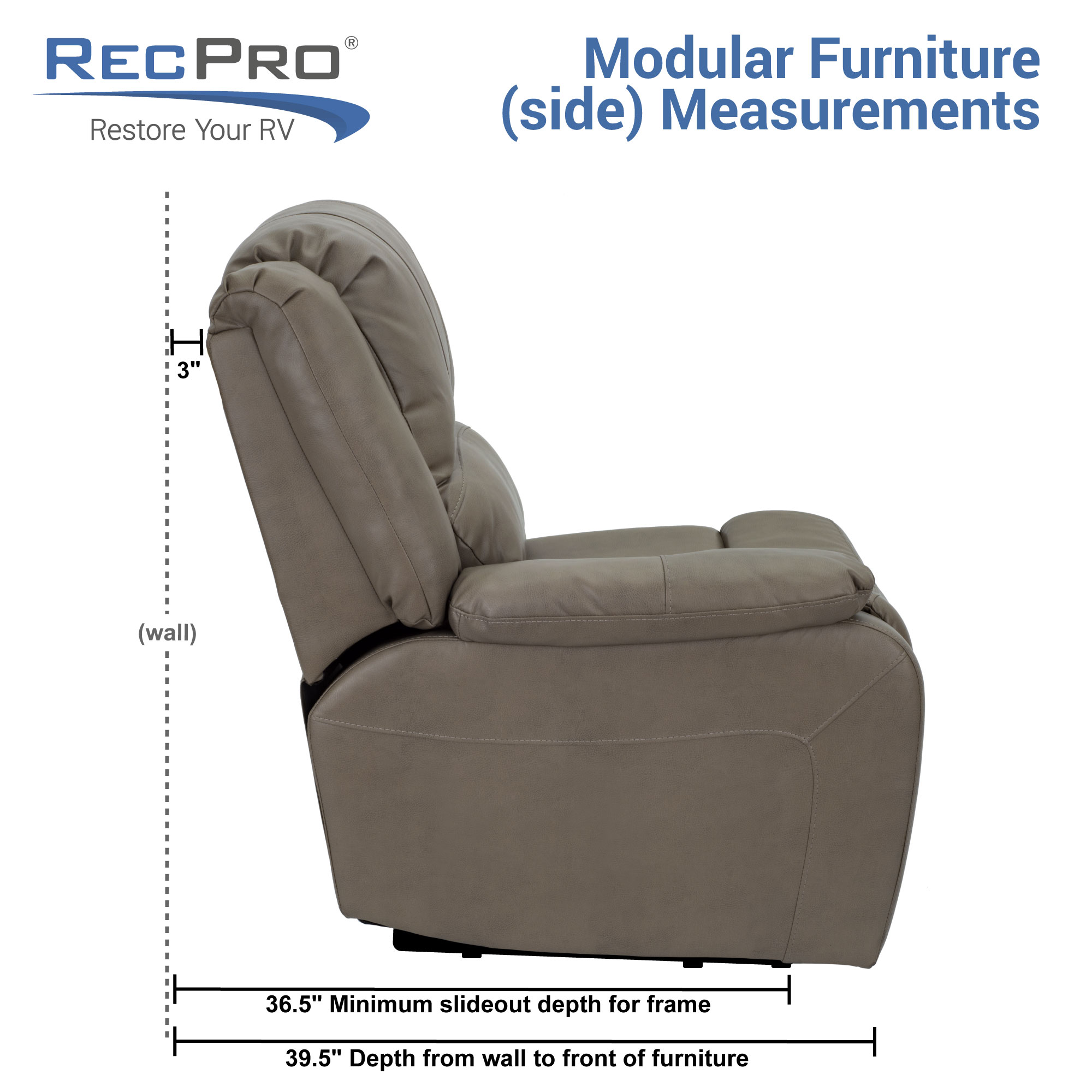 RV Double Recliner Measurements