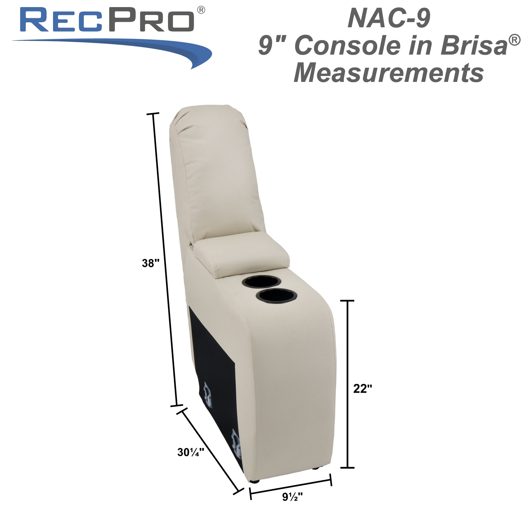 """RecPro Charles 9"""" RV Furniture Comfort Console with Cup Holders and Storage in Ultrafabrics® Brisa®"""