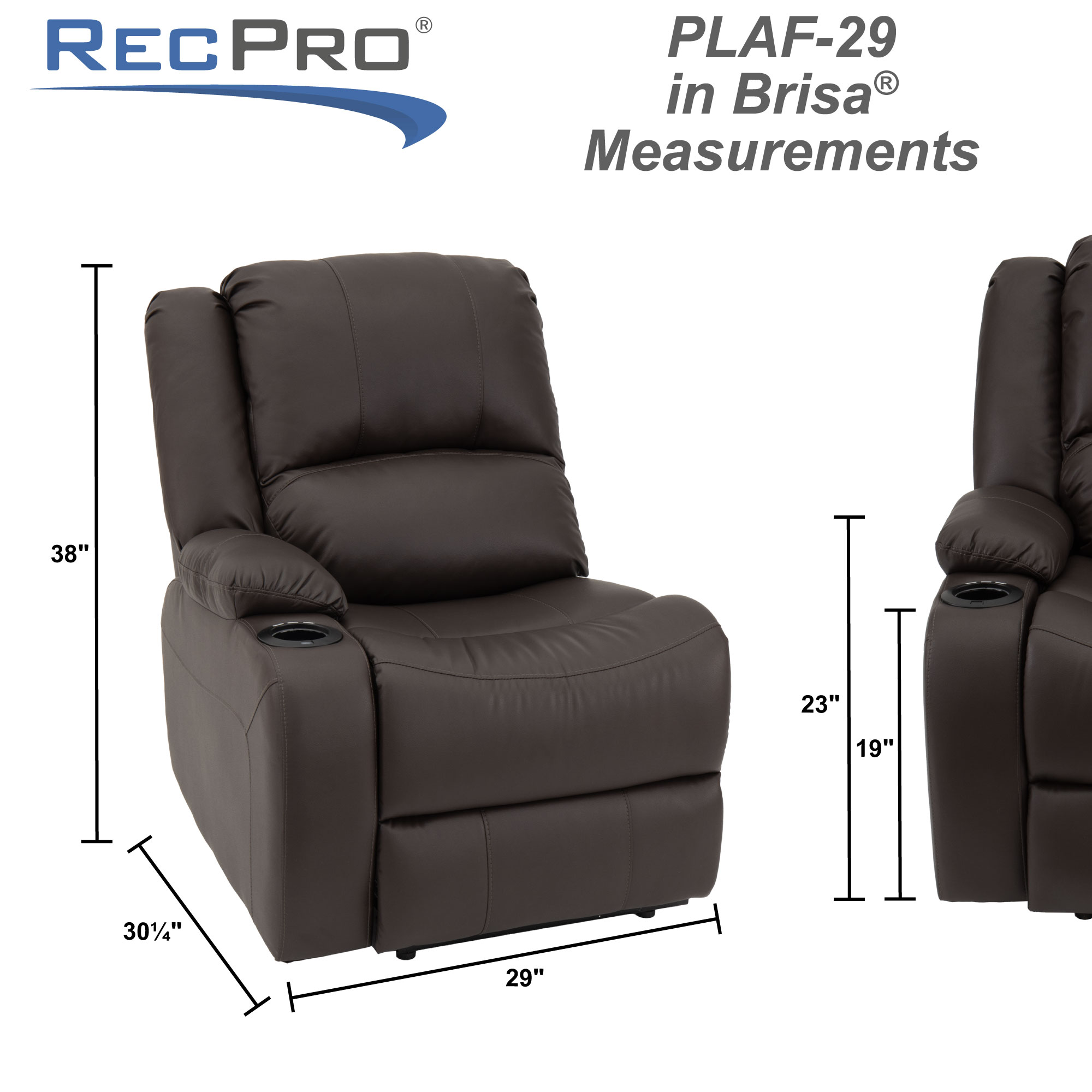 "RecPro Charles 29"" Powered Left Arm Recliner Modular RV Furniture Reclining Luxury Lounger in Ultrafabrics® Brisa® Measurments"