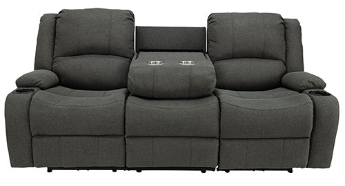 "Powered 80"" Recliner Sofa with Drop Down Console in Fossil"
