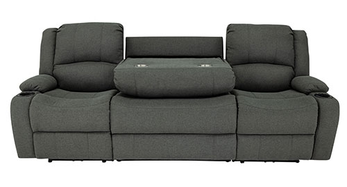 """Powered 94"""" Recliner Sofa in Fossil"""