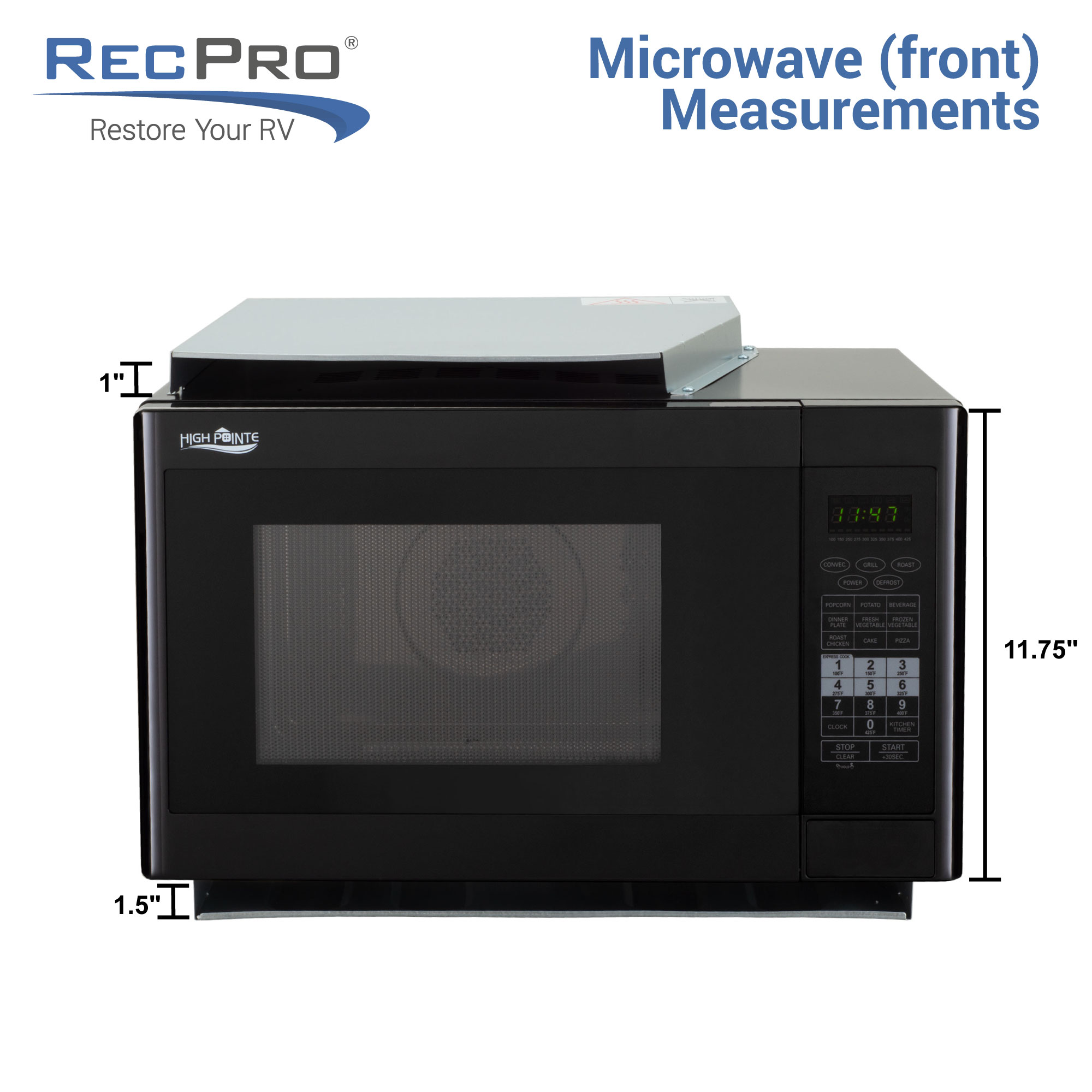 RV Convection Microwave in Black