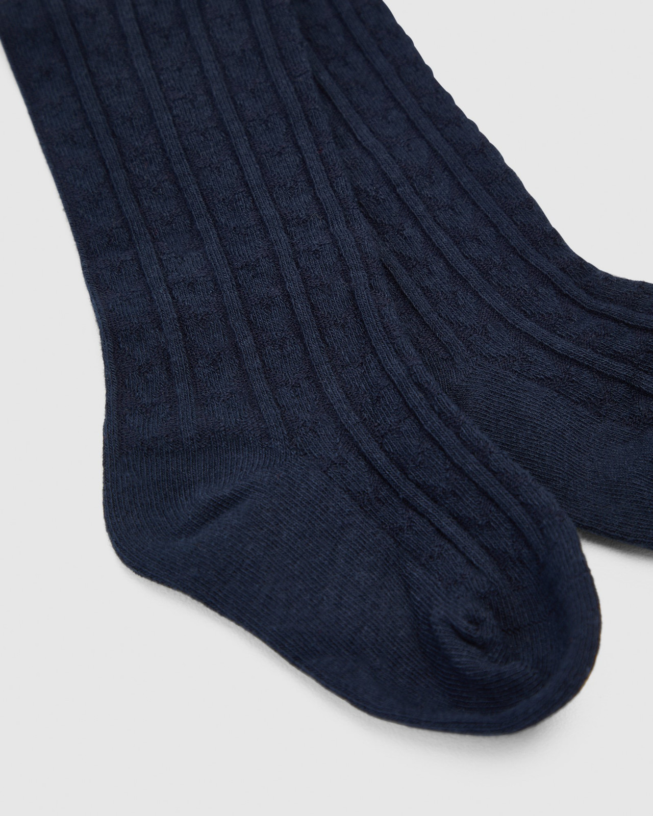 Shoes & Sox Girls HEART CABLE COTTON TIGHTS Navy