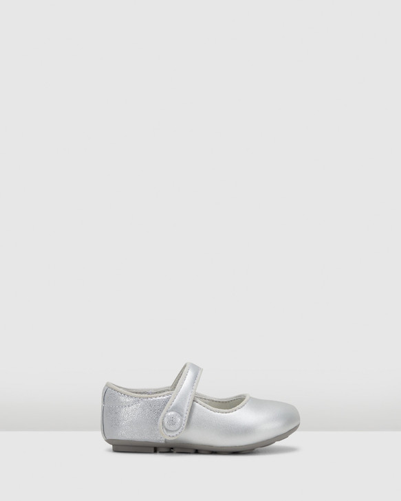 Shoes and Sox Trixie Button Glitter Mj Inf G Silver/Glitter