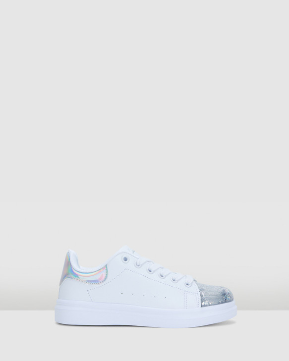 Shoes and Sox Queenie White/Silver
