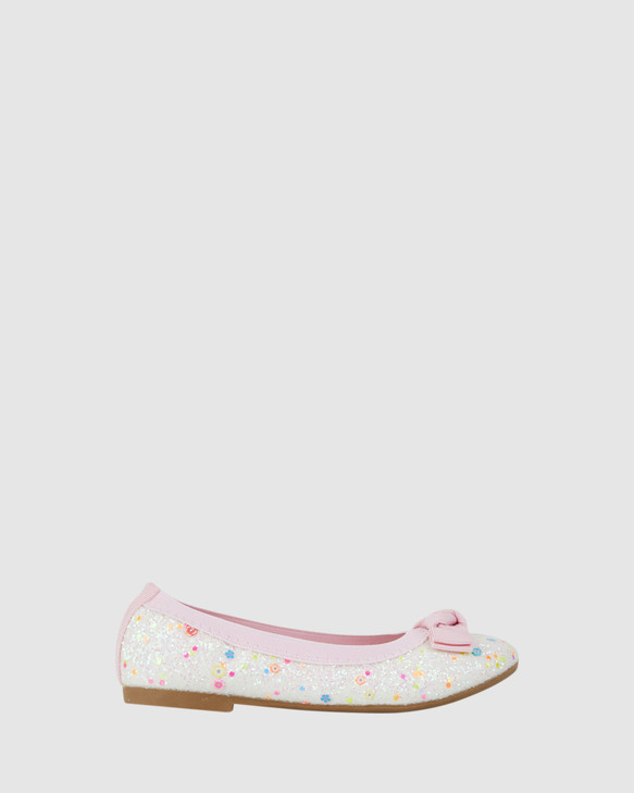 Shoes and Sox Keely Chunky Glitter Ballet White/Pink