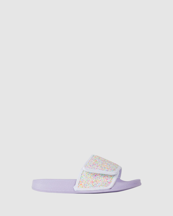 Shoes and Sox Kenna Glitter Slide Lilac