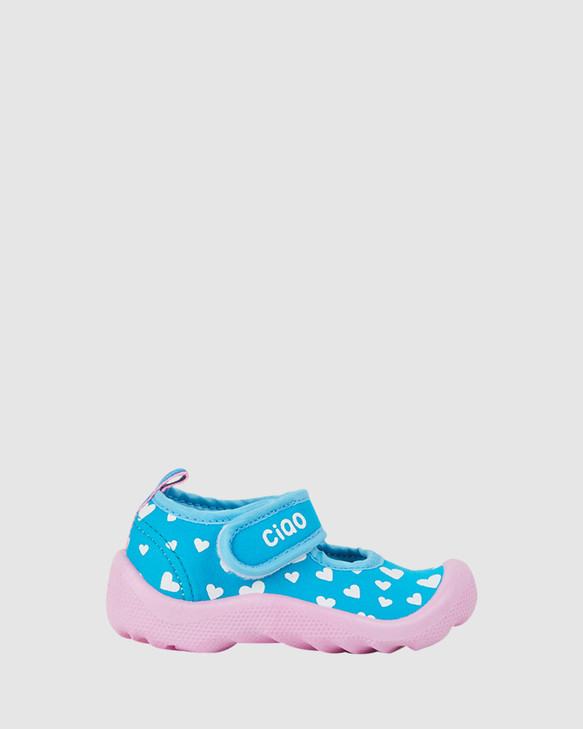 Shoes and Sox Beach Hearts G. Turquoise White