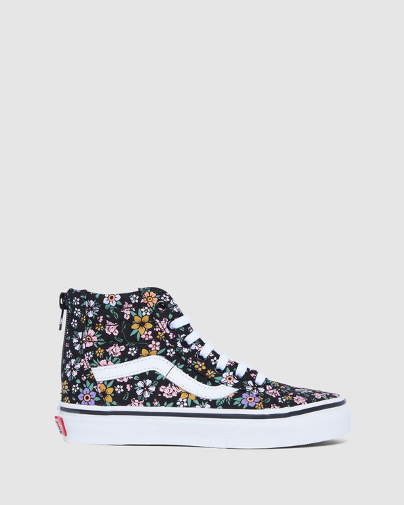 Shoes and Sox Sk8-Hi Zip Floral Yth G Black/White