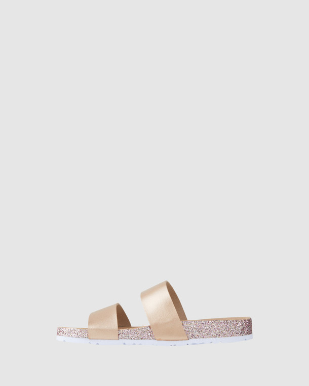 Shoes & Sox Girls Avery Sparkle Slide Rose Gold