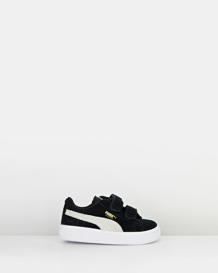 Shoes and Sox Suede 2 Straps Inf B Black/White