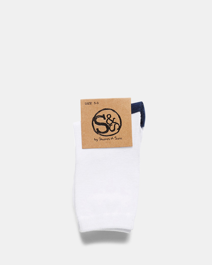 Shoes and Sox Fashion Crew 1 Pk  White/Navy